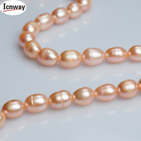 5strands Natural A Rice Pink Freshwater Pearl 7 8mm For Jewelry Making 15inches DIY Necklace Bracelet