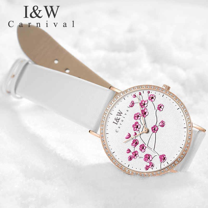 Швейцарский импортный КВАРЦ ДВИЖЕНИЕ женские часы карнавал люксовый бренд часы для женщин сапфир из натуральной кожи reloj hombre C3002-6