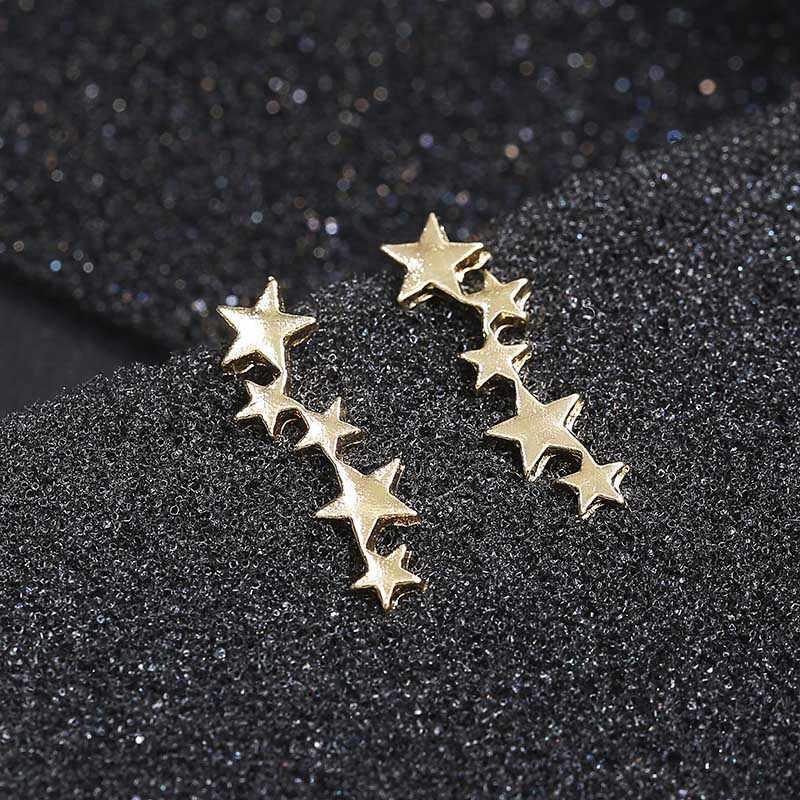 小さなかわいいスタッドピアスファッションゴールデンシルバースターデザイン耳ジュエリークリスタルイヤリングギフトフレンド卸売
