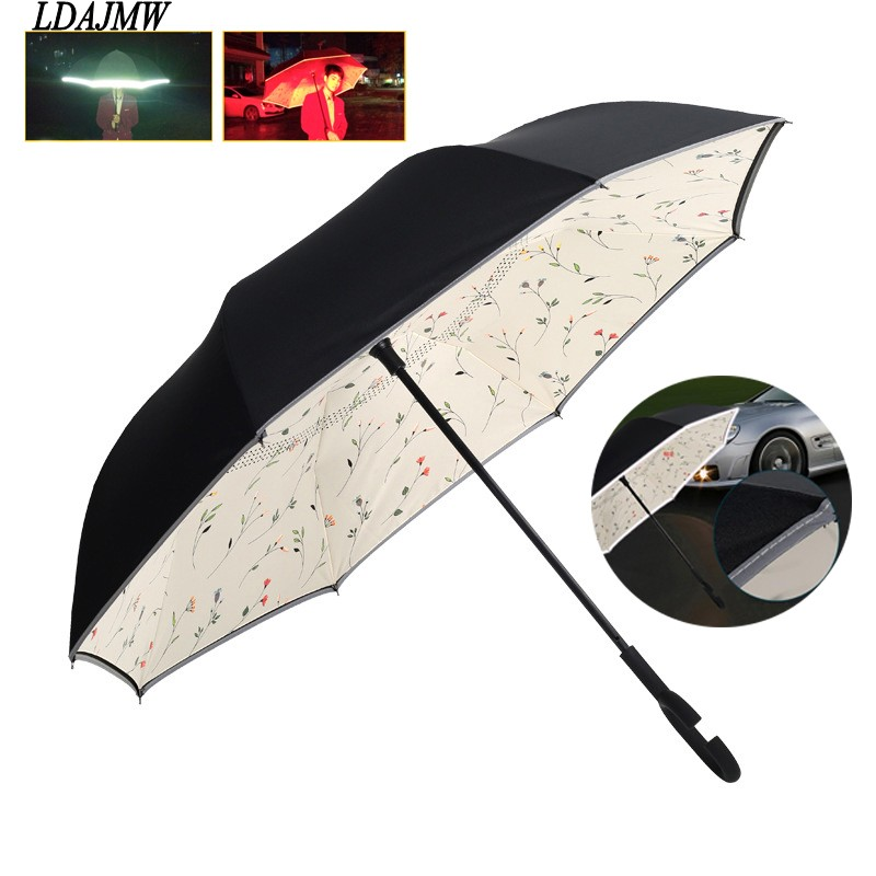 2016 Windproof Reverse Folding At Night reflective C-Handle Reverse Double Layer Inverted Umbrella Long Handle Sun/Rain Umbrella