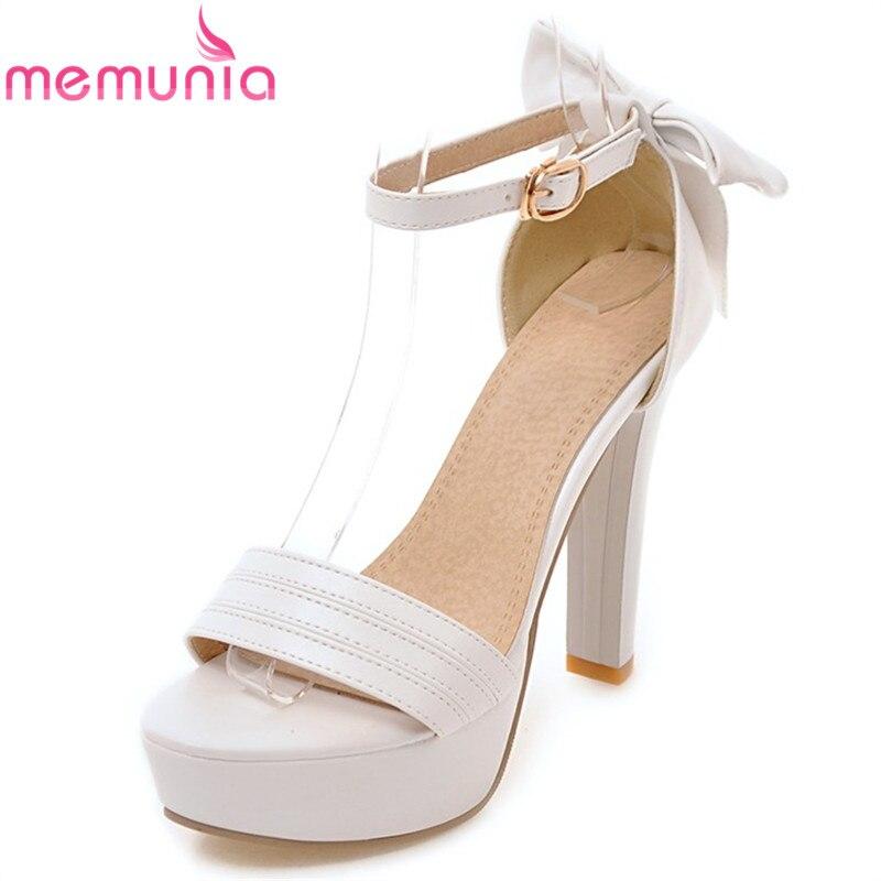 MEMUNIA Plus size 33 43 New Summer sandals women 11cm platform sandals buckle strap with bowtie sexy party wedding shoes female