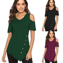 Summer new hot round neck female shirt casual loose personality T-shirt fashion irregular button strapless sexy