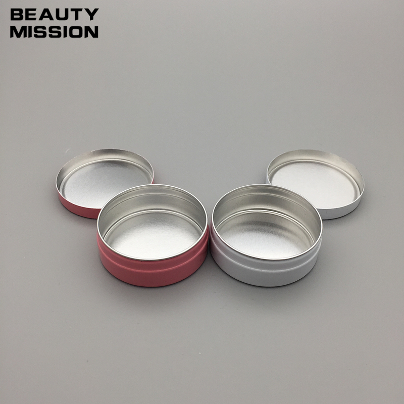BEAUTY MISSION 10ml white/pink aluminium cream bottle,comestic case jar,10g aluminum tins,10ml 10g aluminum lip balm container