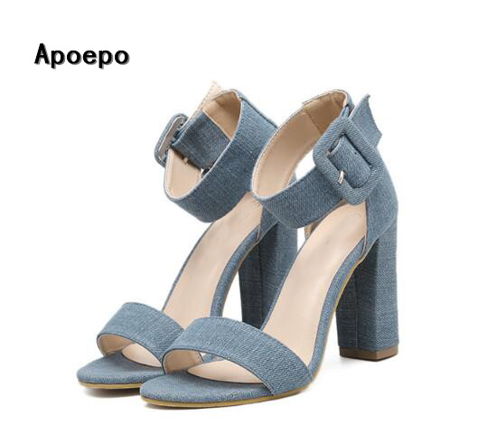 hot selling denim blue high heel sandal sexy open toe thick heels shoes big buckle strap woman gladiator sandal Rome style shoe hot selling black leather sandal high heel summer open toe chains decorations gladiator sandal woman cutouts thin heels shoes
