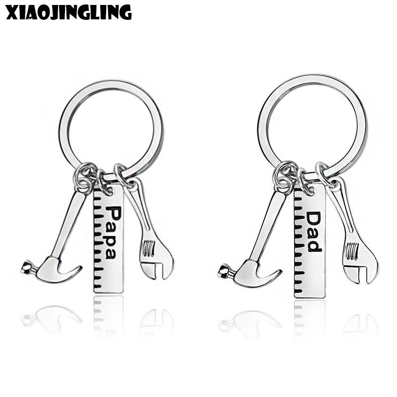 Xiaojingling 3 estilos creatived martelo chaveiro na moda pingentes chaveiros papai pai carro keyfob presente do dia dos pais chaveiros