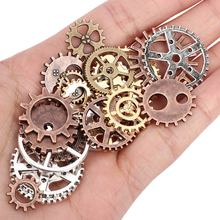 DIY Jewelry Making Vintage Metal Mixed Steampunk Punk Gear Pendants Charms Neckl
