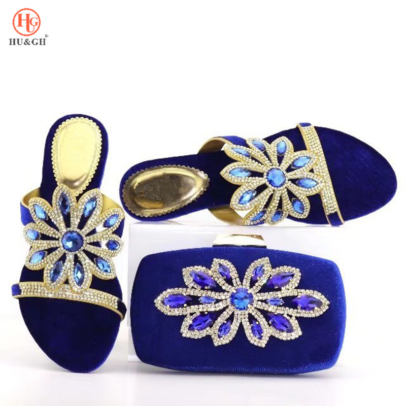 New Italy design royal blue African shoes and matching bags Italian shoes and bag set women pumps Italy ladies shoes and Bags