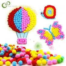 1 шт. Детские креативные DIY наклейки с плюшевыми шариками детские развивающие игрушки ручной работы из материала Мультяшные Пазлы игрушки GYH