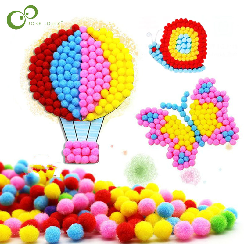 1 Pcs Baby Kids Creative Diy Plush Ball Painting Stickers Children Educational Handmade Material Cartoon Puzzles Crafts Toy Gyh