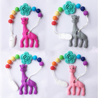 Silicone Giraffe Baby Teething Toy Giraffe Teething Rattle Silicone Teethers With Pacifier Clip Sensory Toy Infant