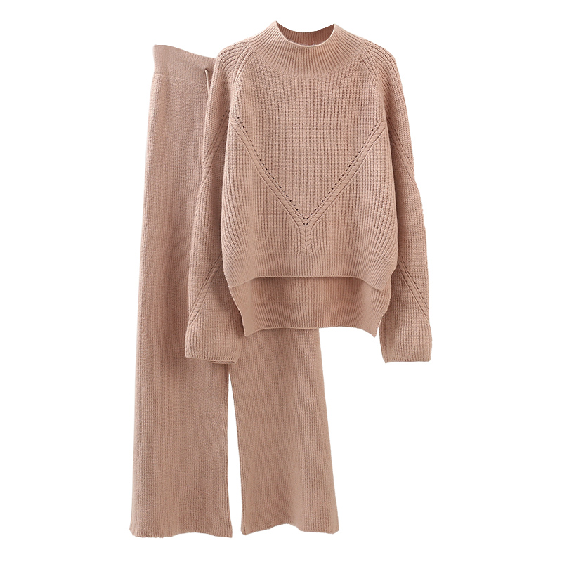 Knitted Women 2 Pieces Pant Sets 2019 Autumn Winter New Thicken Solid Warm Sweater and Wide Leg Pant Suits