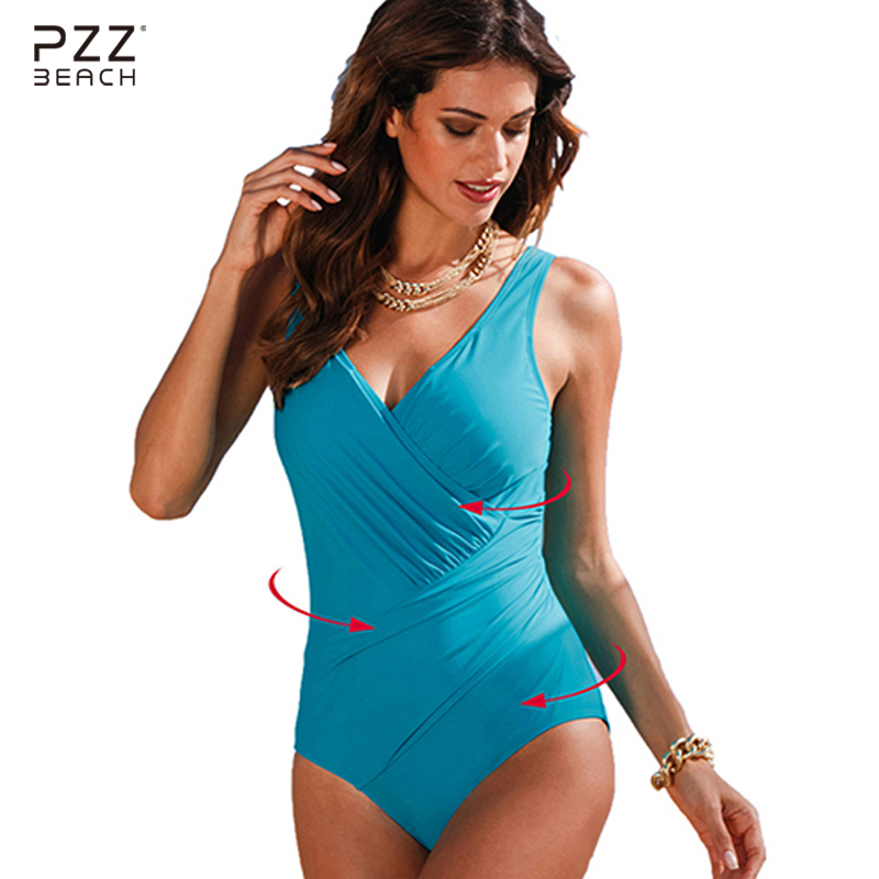 2017 Sexy Solid Women One Piece Swimsuit Large Size Swimwear Monokini Vintage Bathing Suits Large Size Beachwear Bqiuini M-5XL women one piece triangle swimsuit cover up sexy v neck strappy swimwear dot dress pleated skirt large size bathing suit 2017