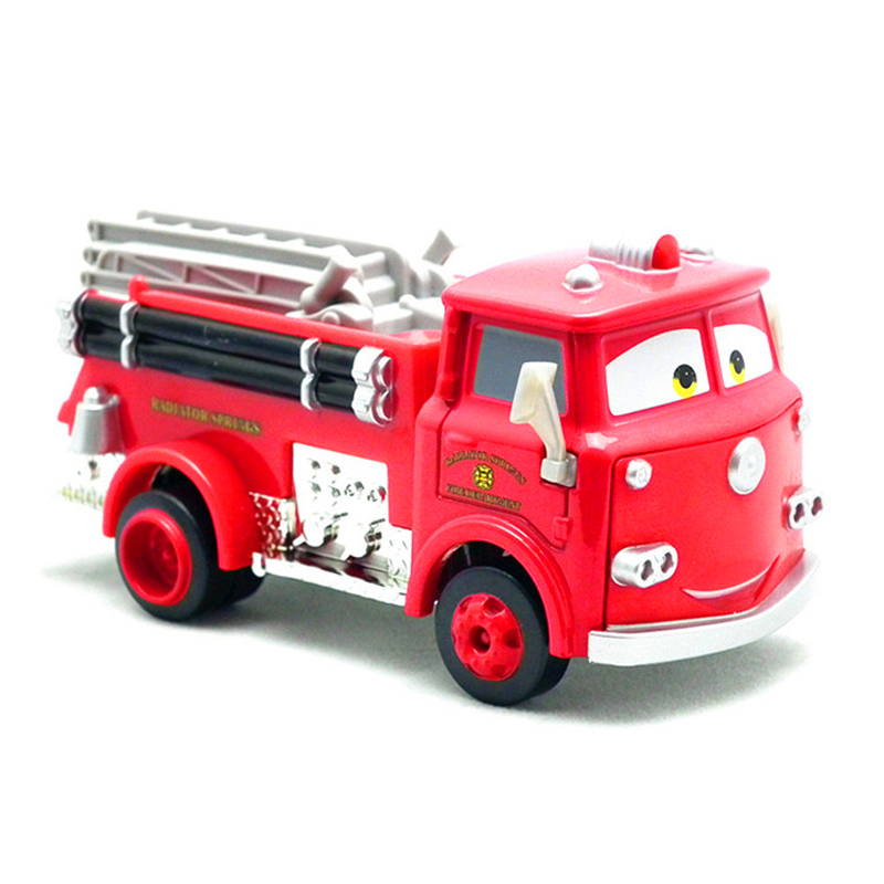 Disney Pixar Cars Red Firetruck Rescue Car Model 1:55 Fire Engine Metal Diecast Car Cartoon Movie Birthday Gift For Children
