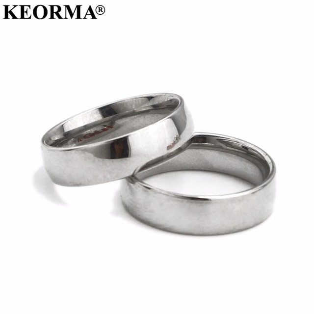 KEORMA 6mm 316L Stainless Steel Shiny Polished Ring Comfort Fit Men Women Weddin