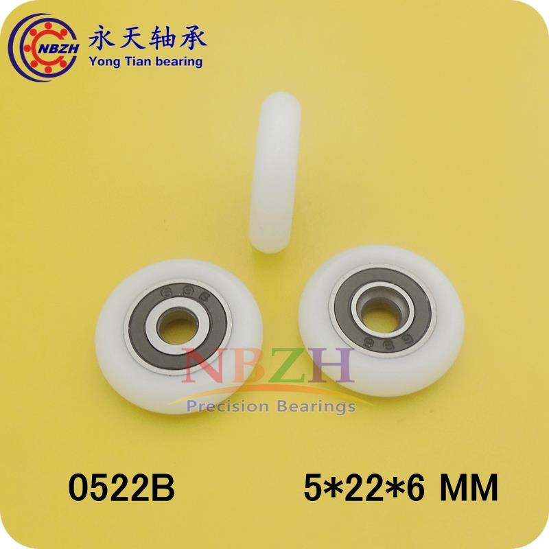 5*22*6mm shower room plastic pulley bearings/shower roller /plastic-covered mute bearing 0522B 5*22*6 mm free shipping physik
