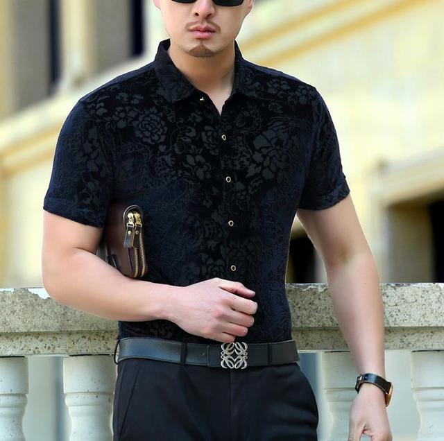 Men Summer Short Sleeved Smart Casual Silk Shirts Mens Dragon Dress Shirts Mens Club Outfits Black