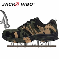 JACKSHIBO Men's Safety Shoes Steel Toe Work & Safety Boots Plus Size Men Camouflage Puncture Proof Boots chaussure de securite