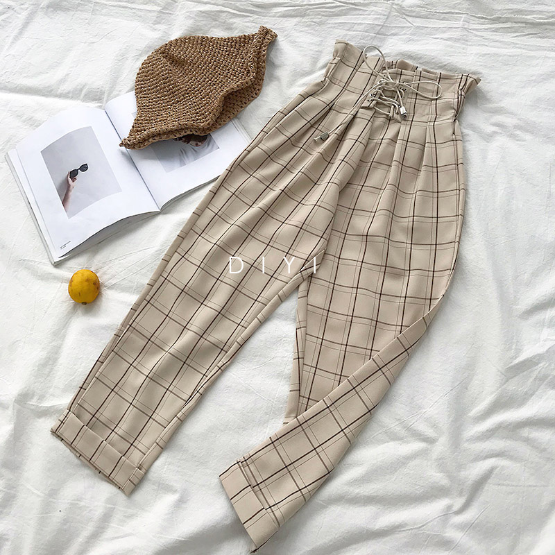 CamKemsey Japanese Harajuku Casual Pants Women 2019 Fashion Lace Up High Waist Ankle Length Loose Plaid Harem Pants 5
