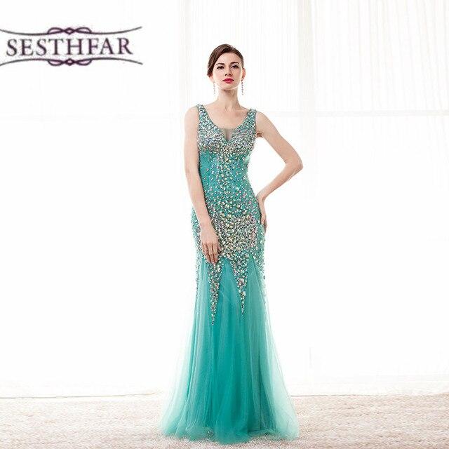 Grün Kristall sparkly brautkleider V ausschnitt Perlen Tüll Sexy ...