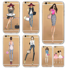 Girl Dress Shopping Fashion Phone Bag For iPhone 5 SE 5S 6 6S 6 s Plus