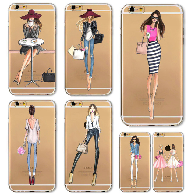 Girl Dress Shopping Fashion Phone Bag For iPhone 5 SE 5S 6 6S 6(s)Plus Transparent Soft TPU Modern Sexy Girls Case Cover