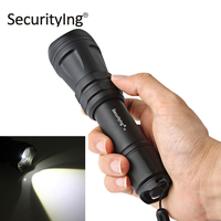 SecurityIng Waterproof LED Flashlight Torch Zoomable 5 Modes XM L2 U4 White LED Flash Light for Outdoor Camping Hiking Hunting