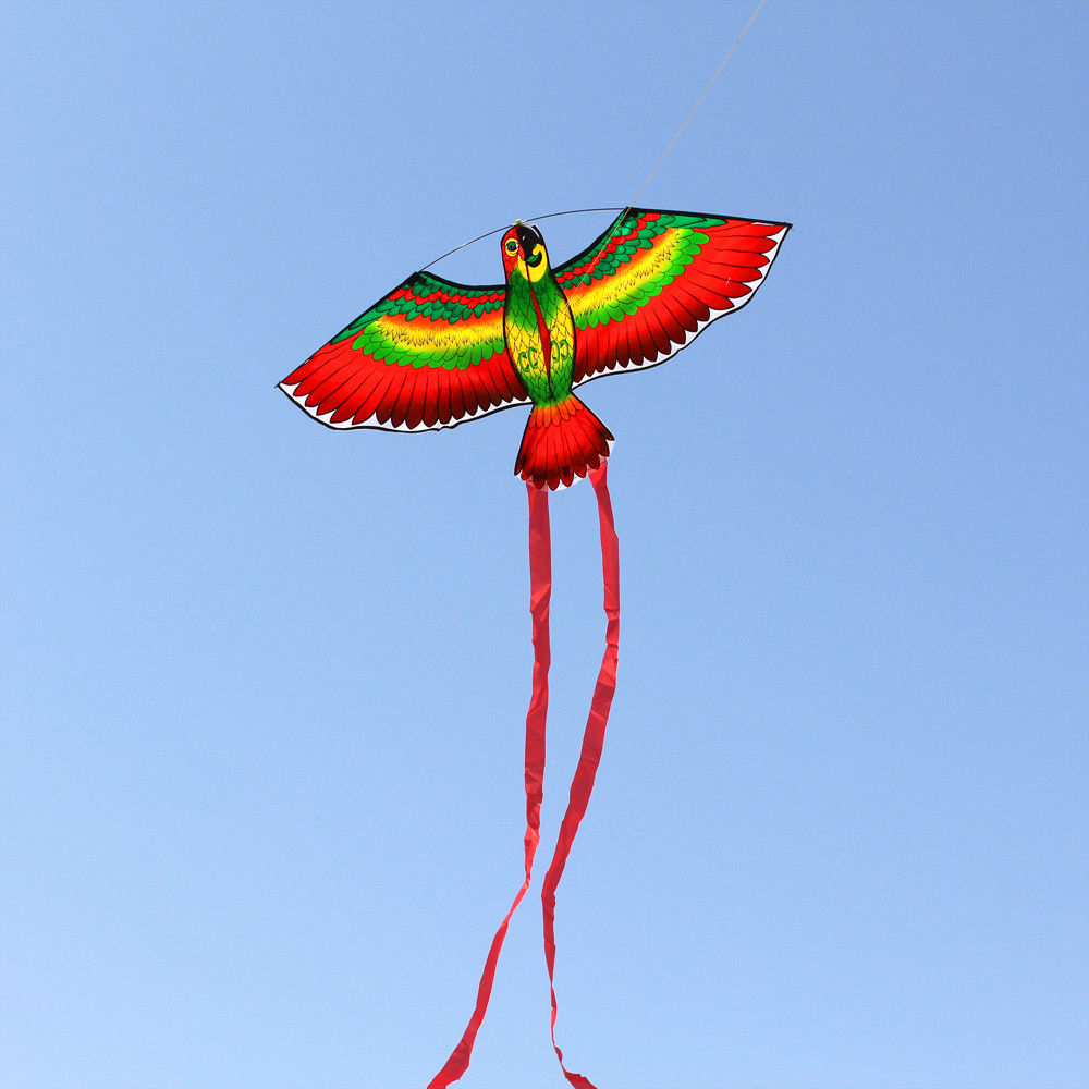 Outdoor Red Parrots Kite Single Line Breeze Flying Fun Sports For Kids