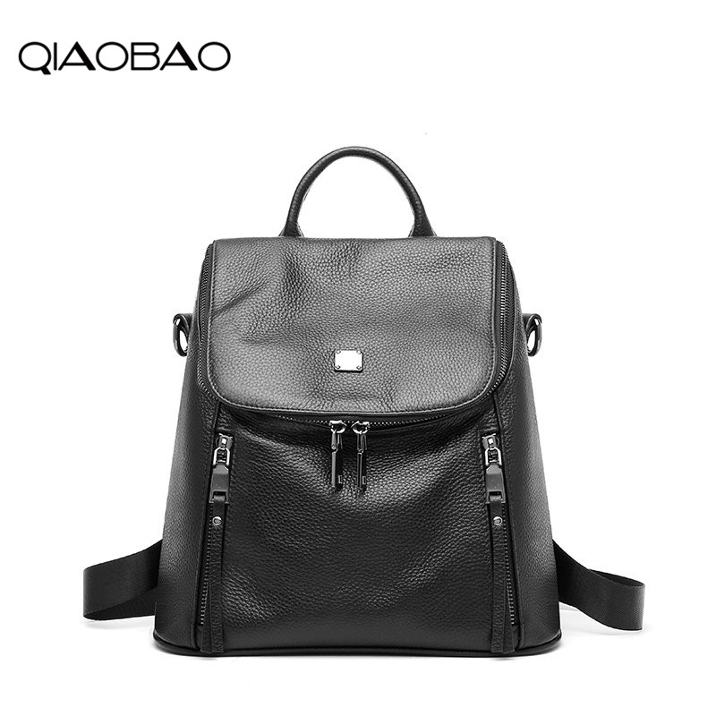 QIAOBAO Newest Quality Genuine Leather Backpack Preppy Style Backpack Girls School Bags Zipper Zipper Cow Leather Back 2018 qiaobao fashion 100% genuine leather backpack women bags preppy style backpack girls school bags zipper kanken leather back