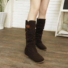 2016 New short women furry snow boots ladies fashion vintage botines mujer winter shoes ladies warm knee high boot plus size 662