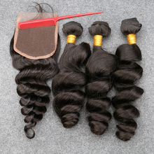 Grade 8A Unprocessed Human Virgin Hair With Closure Peruvian loose wave with closure,ms lula hair with closure Free Shipping