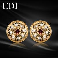 EDI 925 Sterling Silver Earrings European Pattern Style Natural Garnet Stud Earrings Vintage Yellow Gold Plated