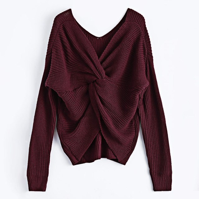 Casual V Neck Twisted Back Sweater 5