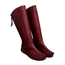 2017 Винтажные женские ботинки до колена Настоящая кожа молния сзади обувь ручной работы Высокие сапоги