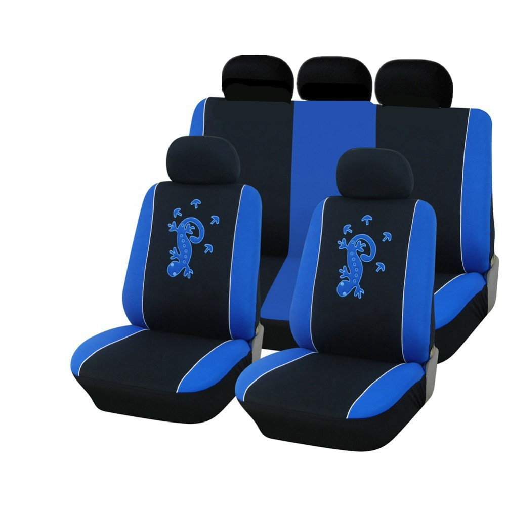 Top Quality Gecko Embroidery 9pcs Car Seat Cover Universal Fit Blue Red Gray Colors Seat Cover Car Seat Protector with Headrest