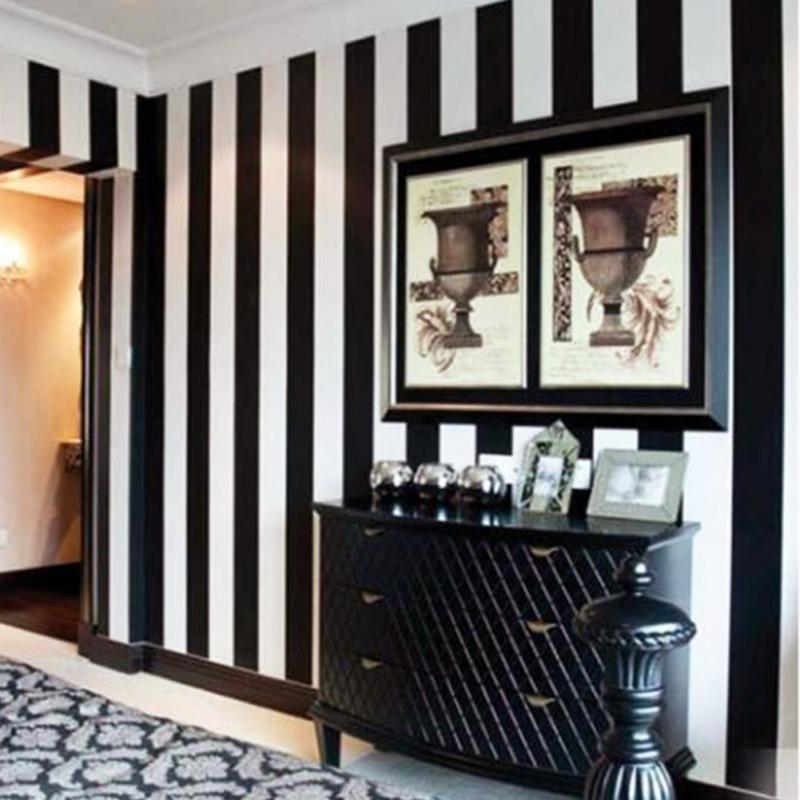 Home Modern Fashion Black And White Vertical Striped Wallpaper Moisture Proof Pvc Material 10m
