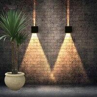 2019 luminária exterieur 6w 12 ip65 fonte led para cima e para baixo iluminação minimalista varanda jardim luz superfície montado parede ao ar livre