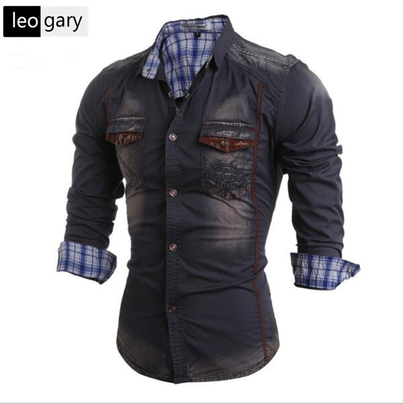 Fashion Men Jeans Shirt Leisure Slim Fit Brand Casual Denim Shirts 2016 New Long Sleeve Male