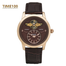 Men's Mechanical Automatic Self-wind Skeleton Watch Black Leather Strap Military Wrist Watches W041