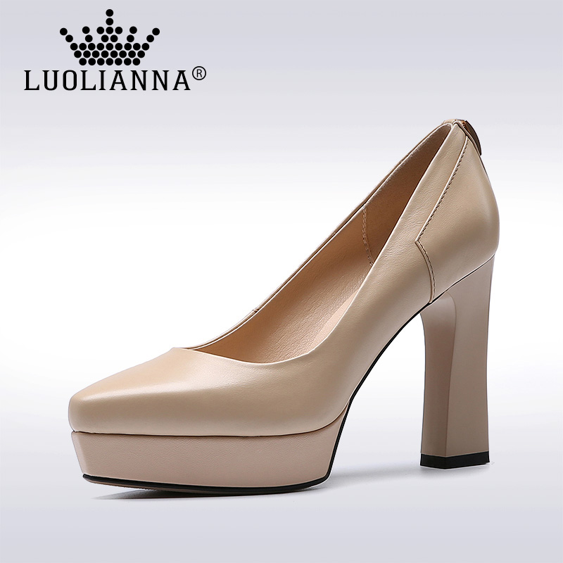 Office Lady shoes High Heels Shoes Women Genuine Leather pumps  shallow Platform Shoes Thick Heel  Pumps Freeshipping LUOLIANNA krazing pot shallow fashion brand shoes genuine leather slip on pointed toe preppy office lady thick high heels women pumps l18