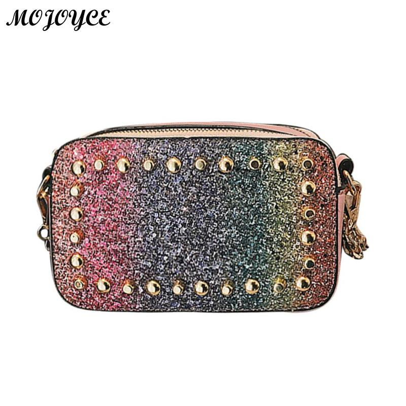 Women Rivet Sequins Square Bag Chain Handbags Packing Gift Box Handmade Beach Travel Tote Products Weaving Bag 17 X 10 X 6cm