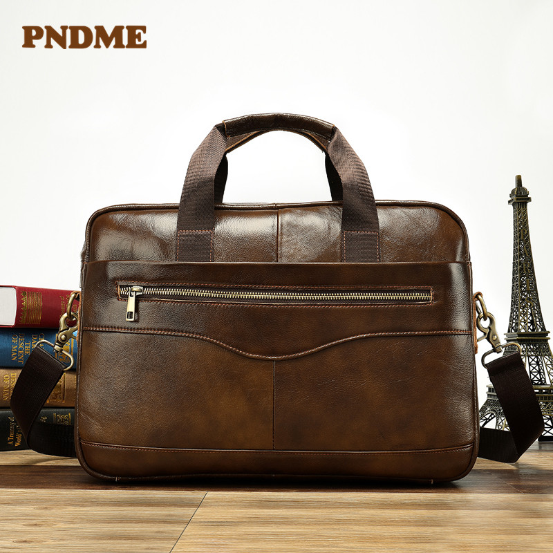 Leather Handbag Briefcase Business Casual Male Bag Horizontal Style Cross Body Carry Head Layer Cowhide Computer Bag