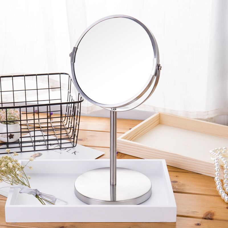 7 Inch 3X Magnification Makeup Mirror Dual Side Round Shape Circular Rotating Desk Stand Mirror Make Up Cosmetic Mirrors Tools large 8 inch fashion high definition desktop makeup mirror 2 face metal bathroom mirror 3x magnifying round pin 360 rotating