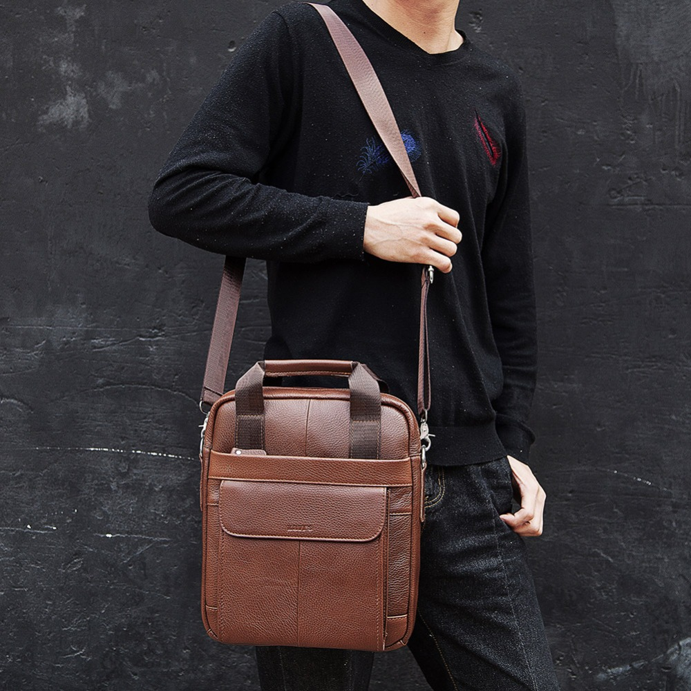 Image 2 - KAVIS 2019 New Cowhide Genuine Leather Messenger Bag Small 