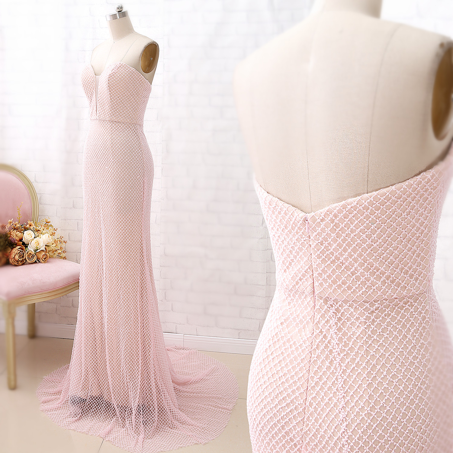 MACloth Ivory Mermaid Strapless Floor-Length Long Beading Tulle   Prom     Dresses     Dress   XXL 360108 Clearance