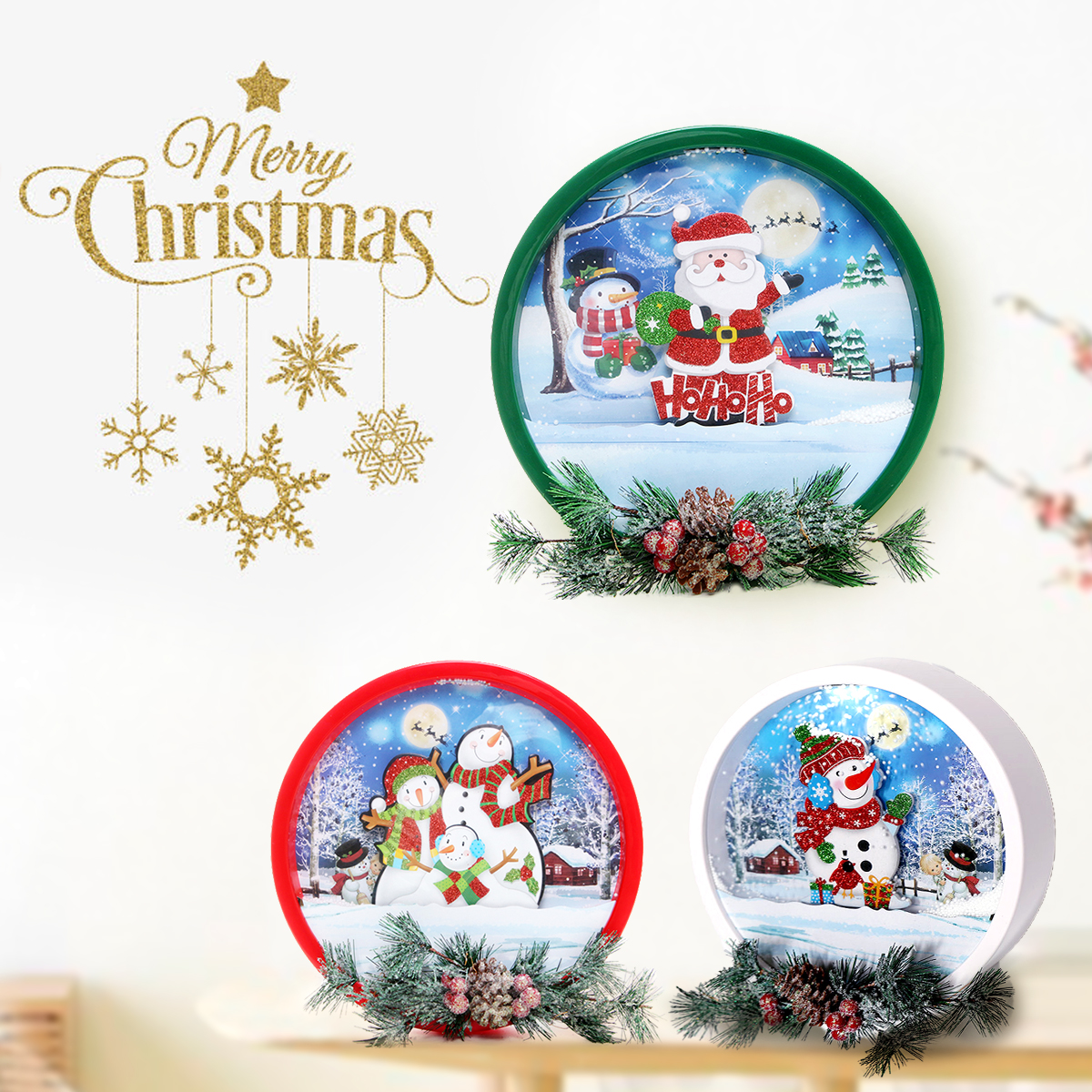 New Fashion USB Christmas Santa Claus Snowman Musical Light Garland Kids Gift Decoration Garland With Light&Music