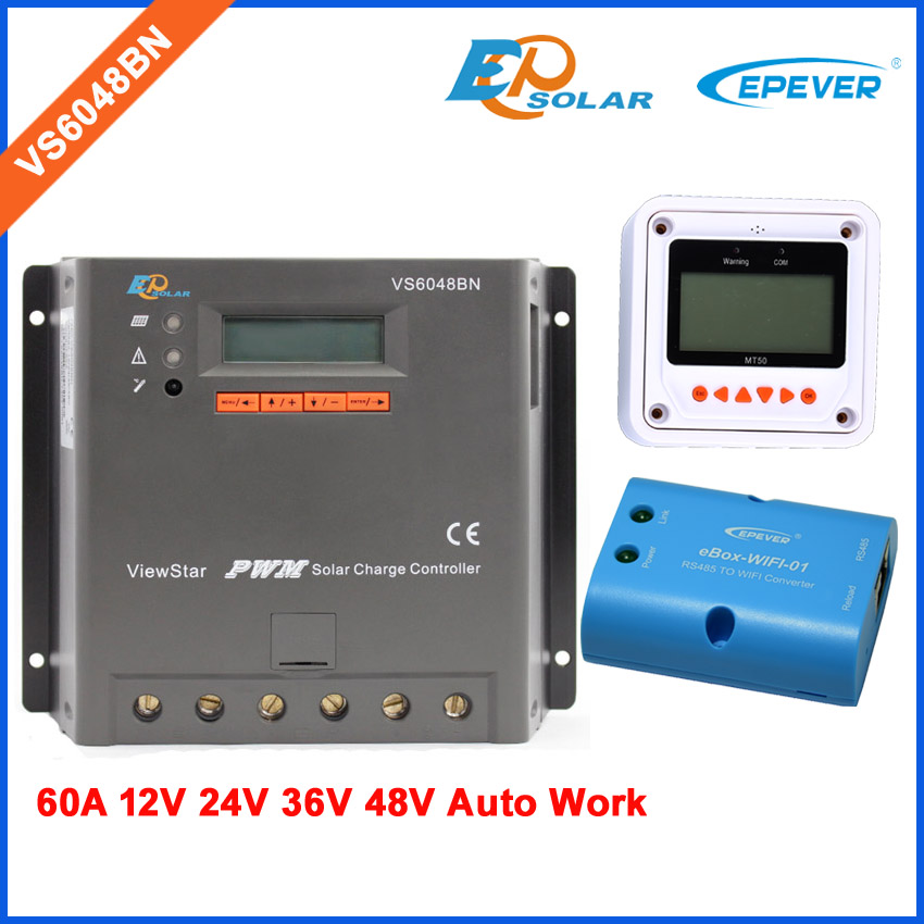 PWM 60A 60amps VS6048BN wifi BOX APP use for Android system MT50 remote meter solar panel controller white color mt50 remote meter for controller solar battery regulator use vs6048bn 60a 60amp pwm epsolar controller