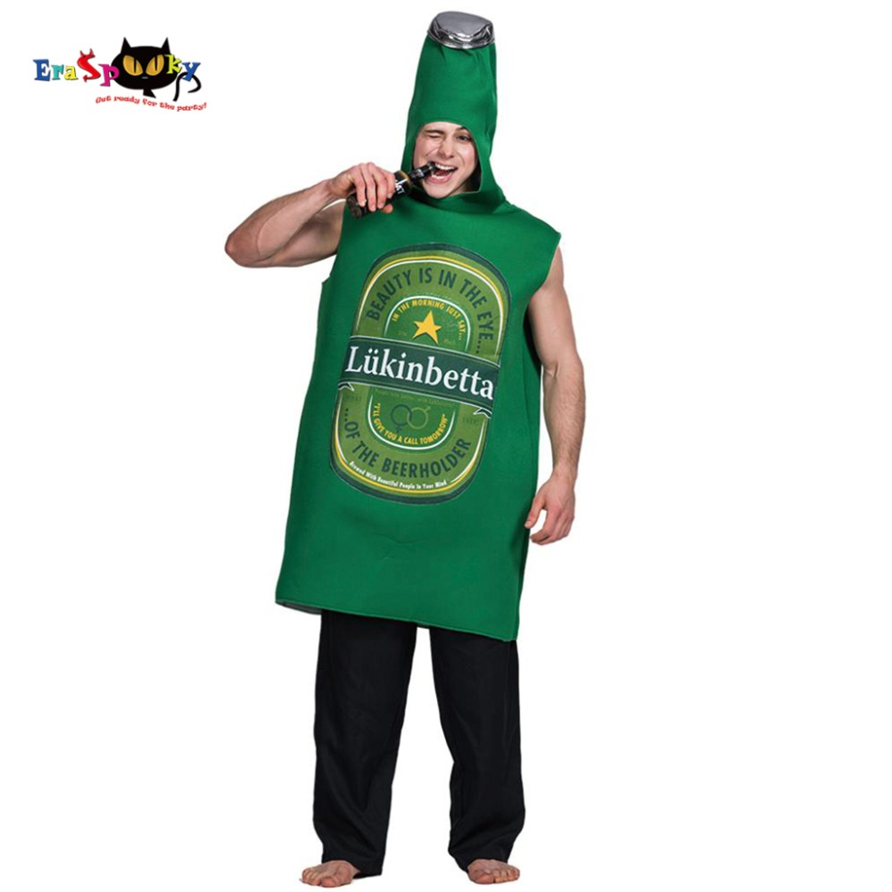 Men Green Poly Foam Beer Whisky Rum Bottle Costume Onesies Jumpsuit Adult Male Outfits Fancy Dress Clothing Halloween Costumes