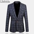 Plaid Mens Blazer Coat Jacket Casual Suit Slim Fit Designs Blazer Male Menswear Large Size 5XL 6XL Masculino Costume Homme J209