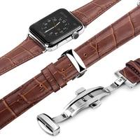 QIALINO Mode Véritable Bracelet En Cuir Bracelet pour iWatch Acier Inoxydable Connexion Adaptateur pour Apple watch 42mm 38mm Série 2