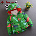 chifave 2016 New Winter Warm Outwear Children Kids Boys Clothing Long Sleeve Hooded Cotton Coat Baby Boys Dinosaur Down Coat